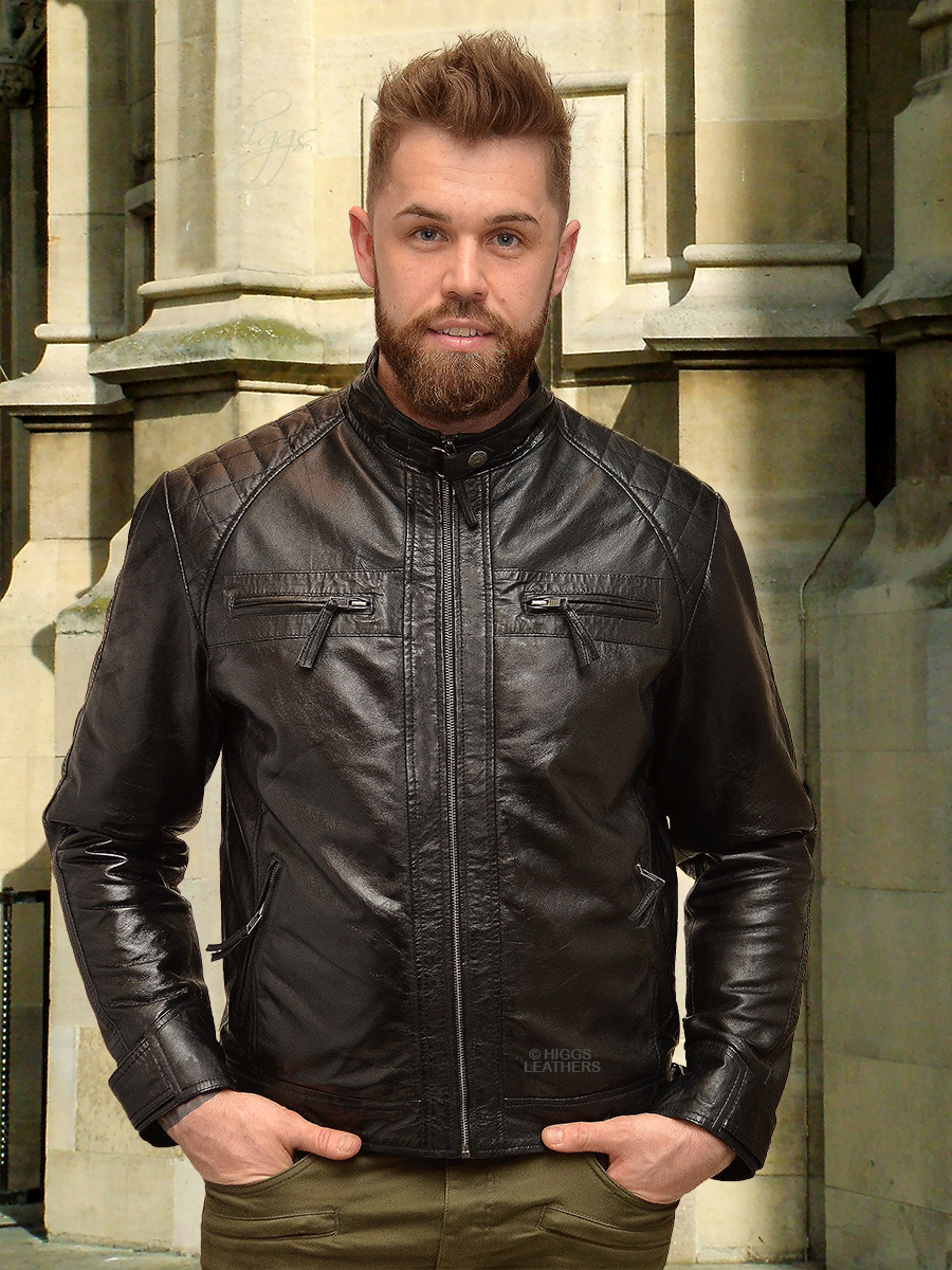 Higgs Leathers {LAST FEW - SAVE £50!}  Sergei (men's Black Leather Bikers jackets)